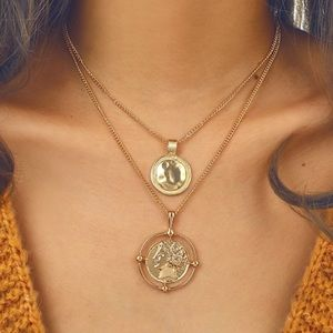 Jewelry - Trendy Gold Coin Pendant Layering Necklace NWT